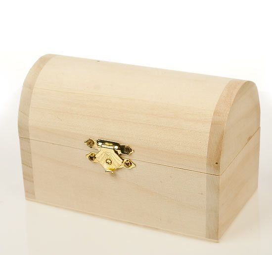 Unfinished wood treasure chest keepsake box cool gift