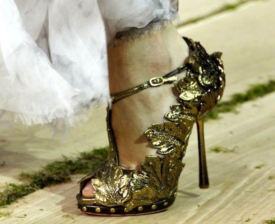 Alexander McQueen Gold Leaf T-Strap Peep Toe Heels | Shoes ...
