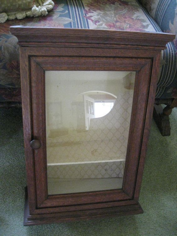 Antique Oak Medicine Cabinet Wall Cabinet Curio by AndOnToWillow ...