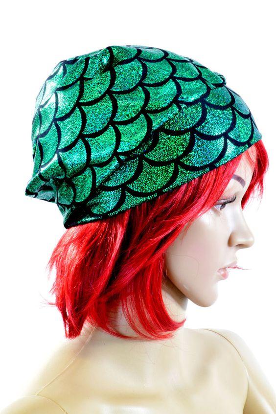 Emerald Green Mermaid or Dragon Scale Beanie Hat