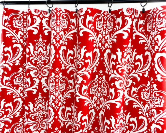 Red Curtains. Damask Red Curtains. 2 Panel by TwistedBobbinDesigns ...