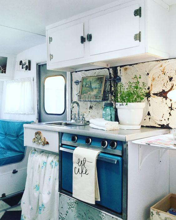 vintage camper dressed in blues