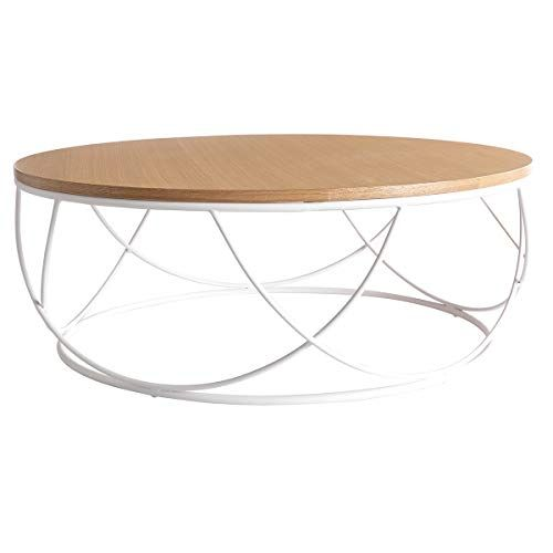 Table Basse Ronde Bois Et Metal Blanc D80 X H30 Cm Lace Miliboo Stephane Plaza En 2020 Table Basse Ronde Bois Table Basse Ronde Table Basse