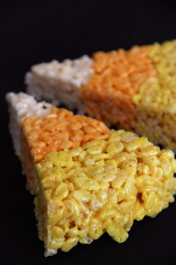 DIY Candy Corn Rice Krispie Treats; perfect for Halloween!!!