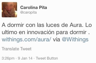 "Carolina Pita (twitter.com/caropita) tweeted: "" A dormir con las luces de Aura. Lo ultimo en innovación para dormir . withings.com/aura/ vía Withings "" Learn more: http://www.withings.com/en/aura"