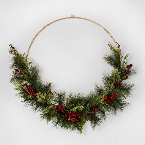 Wreath Gold Wire With Red Berry Pine Threshold Target Wire Christmas Wreath Holiday Decor Christmas Large Decorative Wreaths