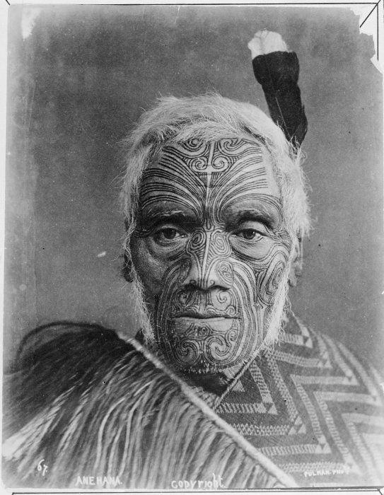 Maori chief Anehana with full facial moko, Auckland New Zealand c 1990