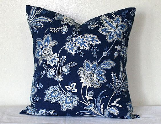 Jacobean Decorative Pillows : Jacobean Blue Floral, 18 x18 inch Cotton Pillow, Waverly Toss Pillow, Decorative Home Decor ...
