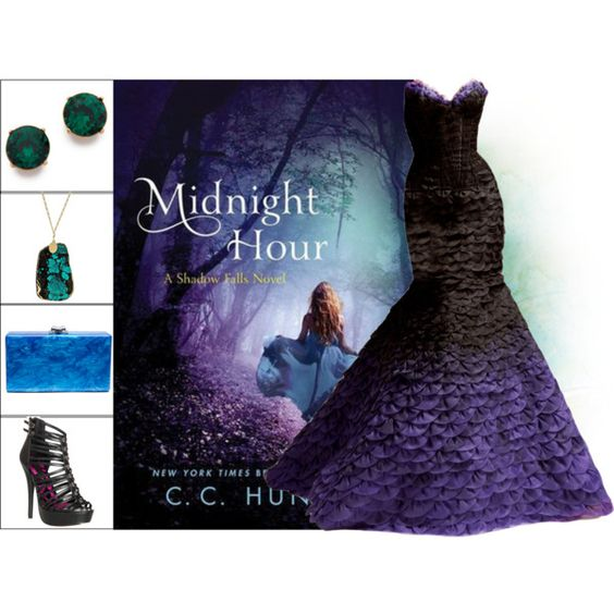 Book Look: Midnight Hour By C. C. Hunter by xmikky on Polyvore featuring JustFab, Edie Parker, Dara Ettinger, Kenneth Jay Lane and Versace