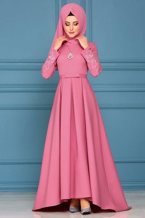 Modaselvim Abiye Pileli Peplum Abiye 8846w153 Gul Kurusu Muslim Fashion Dress Muslim Evening Dresses Hijab Dress Party