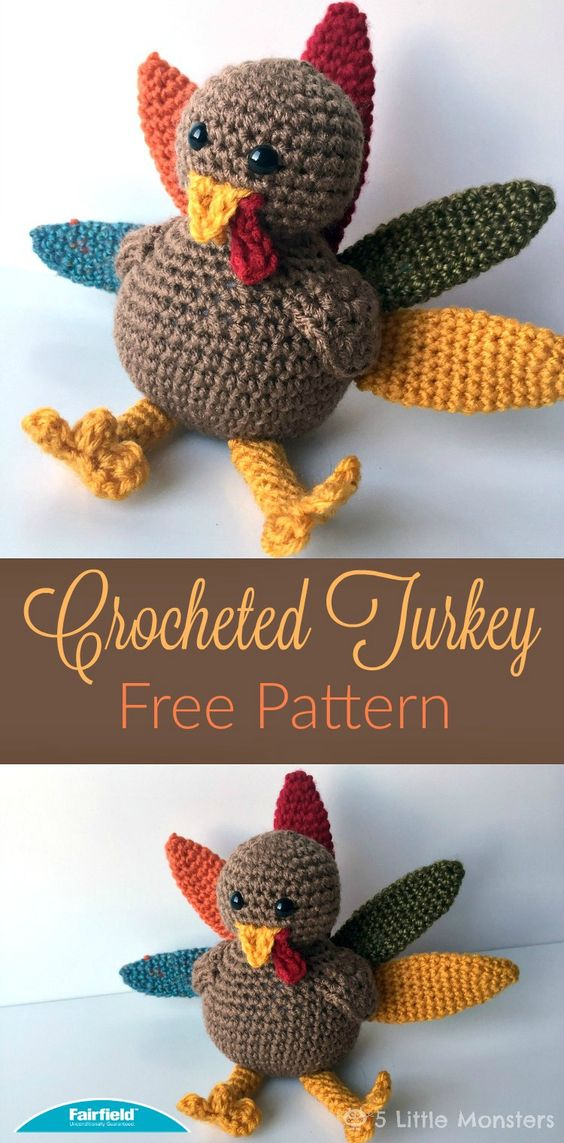 Crocheted Turkey for Thanksgiving