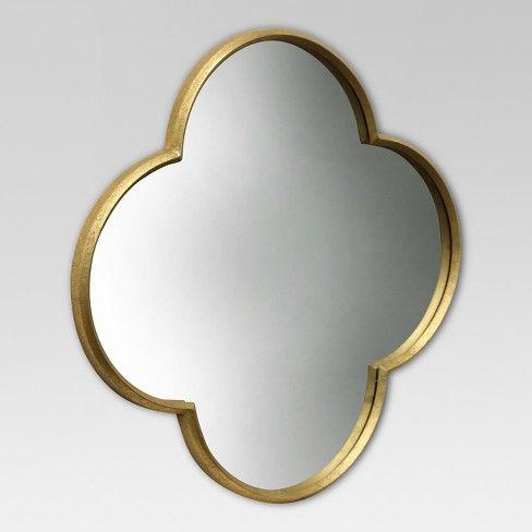 Quatrefoil Decorative Wall Mirror Gold Finish Threshold