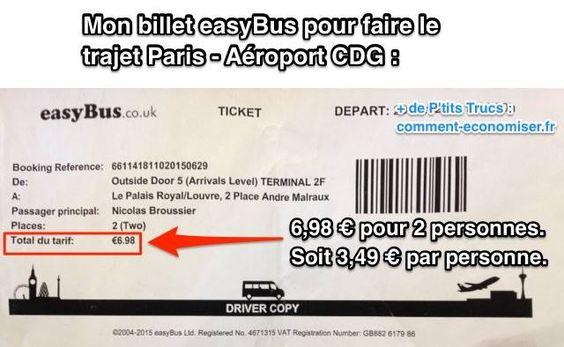 Vous cherchez LA solution la moins chère pour aller à l'aéroport Charles-de-Gaulle depuis Paris ? J'ai utilisé easyBus et j'ai payé 3,49€ pour aller à l'aéroport CDG depuis le centre de Paris ! Vous ne me croyez pas ? Regardez.  Découvrez l'astuce ici : http://www.comment-economiser.fr/trajet-paris-aeroport-charles-de-gaulle-pas-cher.html?utm_content=buffer32427&utm_medium=social&utm_source=pinterest.com&utm_campaign=buffer