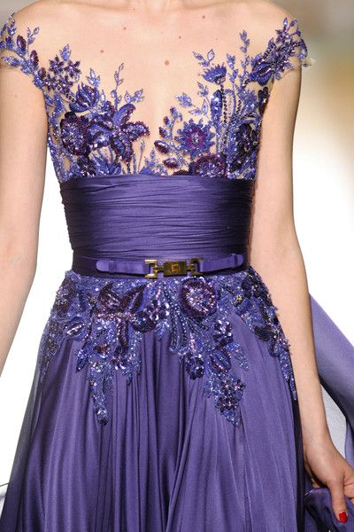 Crystal Embellished Deep Purple Gown by Zuhair Murad Couture FALL 2012