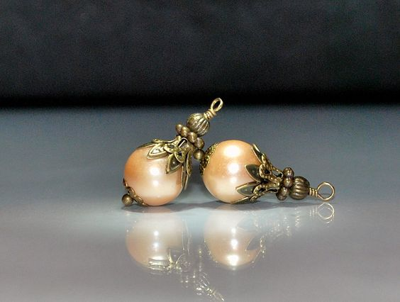 2 Vintage Style Champagne Gold Glass Pearl Bead Dangles or Earrings 10mm Glass Pearls by goldcountrydangles on Etsy