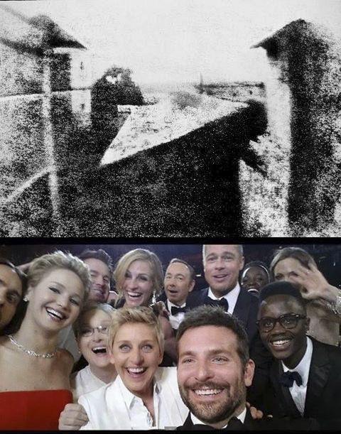 *** ONTEM E HOJE EM DOIS CLIQUES ***  Você sabia que a primeira fotografia reconhecida vem do ano de 1826? Isso mesmo. Estamos celebrando 190 anos desde que a primeira foto foi feita. A imagem é atribuída ao francês Joseph Nicéphore Niépce.  Já a outra imagem representa a febre contemporâne: as selfies. Esta foto bateu mais de 2 milhões de retweets. Postada por Ellen DeGeneres, é uma selfie feita com  atores que participaram do Óscar/2014.  M