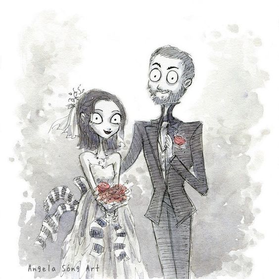 And now for something different. Wedding invite commission for my friend Kate…