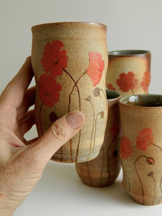4 Large Poppy Cups - hand-painted, wood-fired pottery, tumbler
