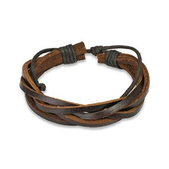 Brown Leather Bracelet with 5 Entangled Strips