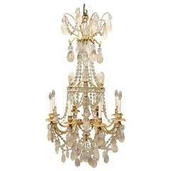 A Lovely Late 19th Century Bronze and Rock Crystal Chandelier - Gagneau Frères