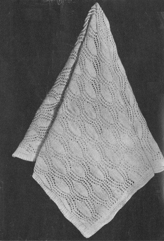 Vintage Leaf Knitting Pattern : Vintage 1950s Apple Leaf Baby Shawl Heirloom Knitting ...