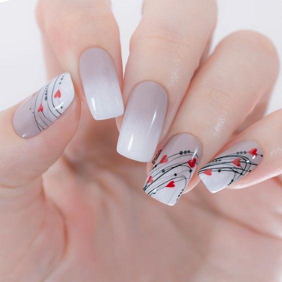 Маникюр. МАСТЕР-КЛАССЫ в Instagram: «@yagala -💕Valentines day nail design: gradient and spider-gel💕Дизайн ко дню св.Валентина гелем «паутинка»💕 ⠀ ⠀ #мастеркласс #дизайнногтей…»