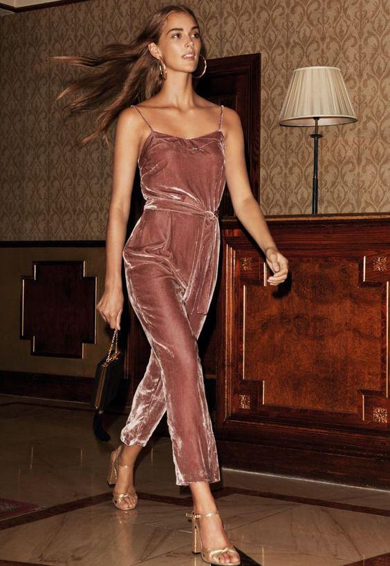 Image result for blush pink suede jumpsuit