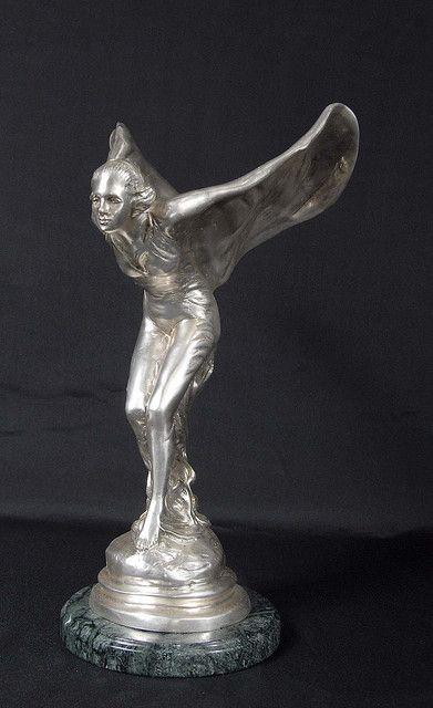 art deco bronze flying lady rolls royce mascot by charles