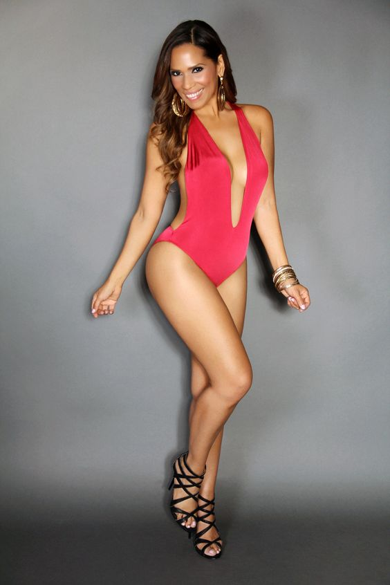 Sweet Red Deep End Plunging Bodysuit