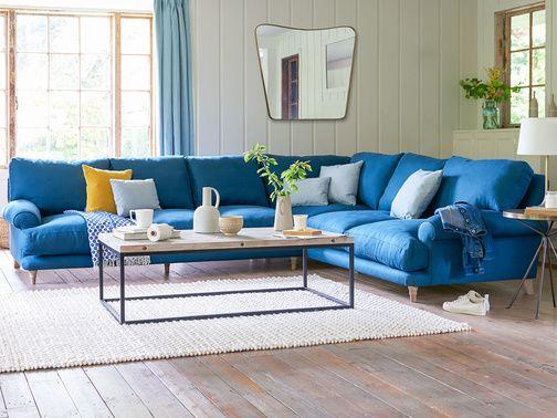 Slowcoach Corner Sofa With Images Blue Corner Sofas Corner Sofa Corner Sofa Living Room