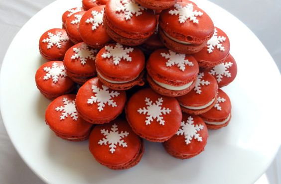 French Macaron Christmas Snow Flake ORGANIC Gluten Free