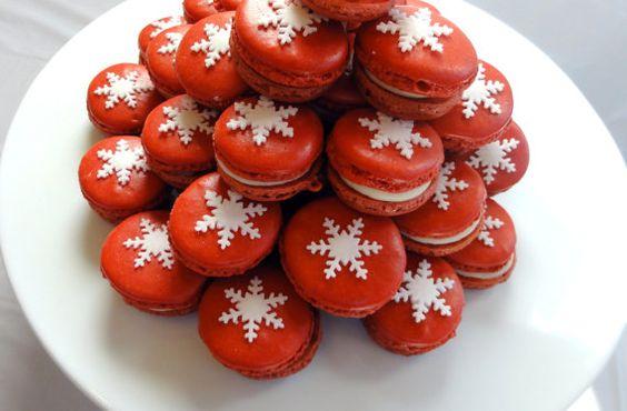French Macaron Christmas Snow Flake ORGANIC Gluten Free