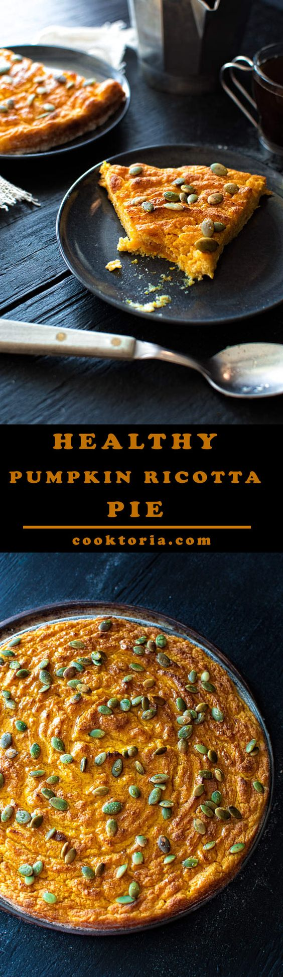Simple and healthy pumpkin ricotta pie recipe. Great with a cup of coffee! ❤ COOKTORIA.COM