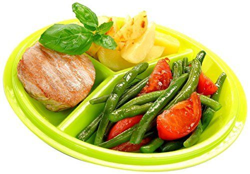 Precise Portions Go Healthy Portion Control Plate - BPA-Free, 3-Section Diet Plate with Leak-Proof Lids, Dishwasher