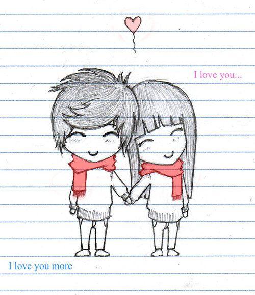 Sketch cartoon Love Wallpaper : couple-cute-happy-heart-i-love-you-Favim.com-137167_large Happy, My life and cute designs