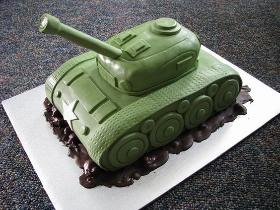The tank cakes are starting to all look alike. For Z's cake I want to try to bundle the candles at the end of the gun so we can light them.