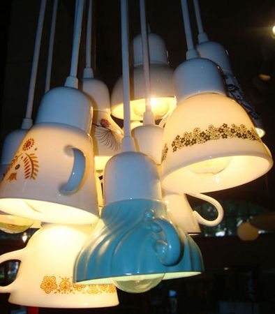 Teacup chandelier. I'll take mine with three lumps please.