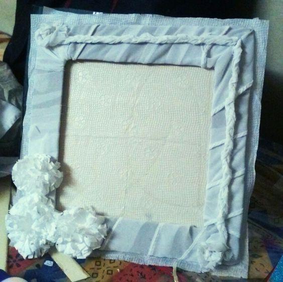 photoframe using tissue paper ,cardboard n cloth...