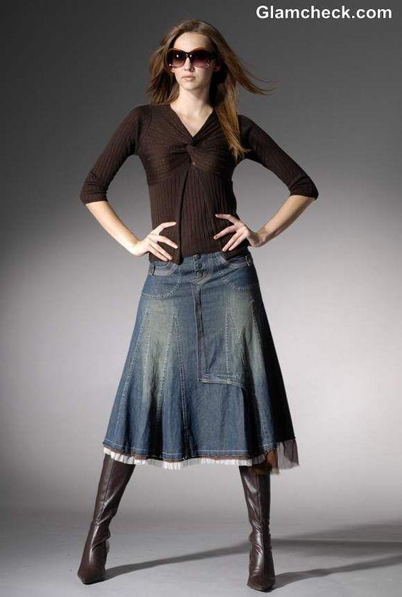 #saia #midi #jeans #bota #boot #skirt: