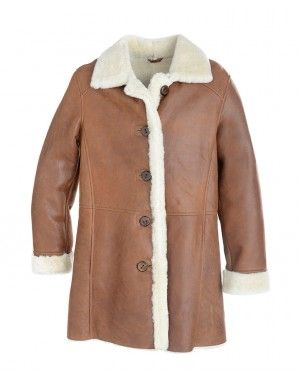 Ladies classic three quater length Sheepskin Car Coat with a ...