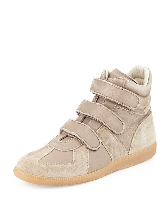 Leather Grip-Strap High-Top Sneaker, Light Brown - Maison Margiela