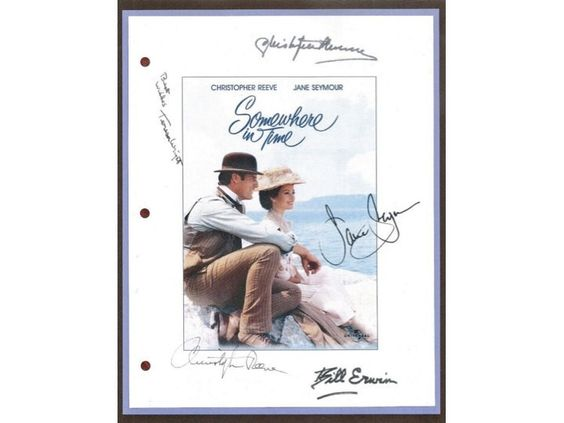 Somewhere In Time 1980 Movie Script Autographed: Christopher Reeve, Jane Seymour, Christopher Plummer, Teresa Wright, Bill Erwin
