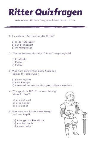 Ritterquiz Fur Kinder 10 Quizfragen Zum Ausdrucken