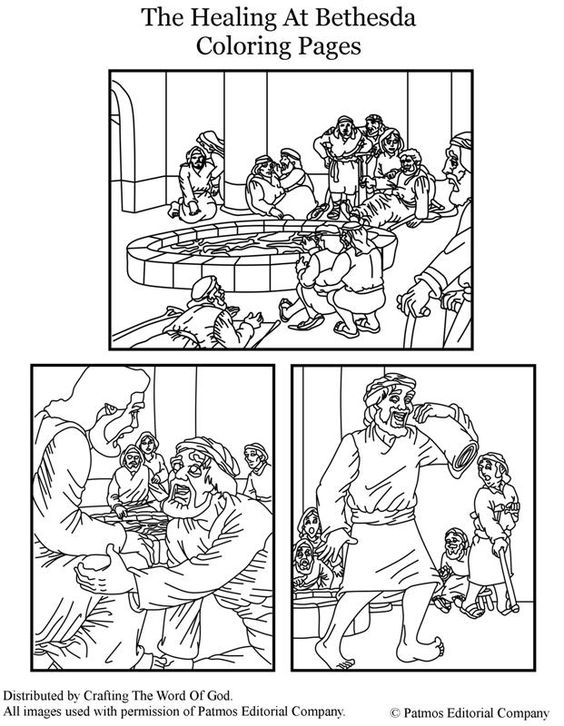 The healing at bethesda coloring pages coloring pages for Jesus heals a paralytic coloring page