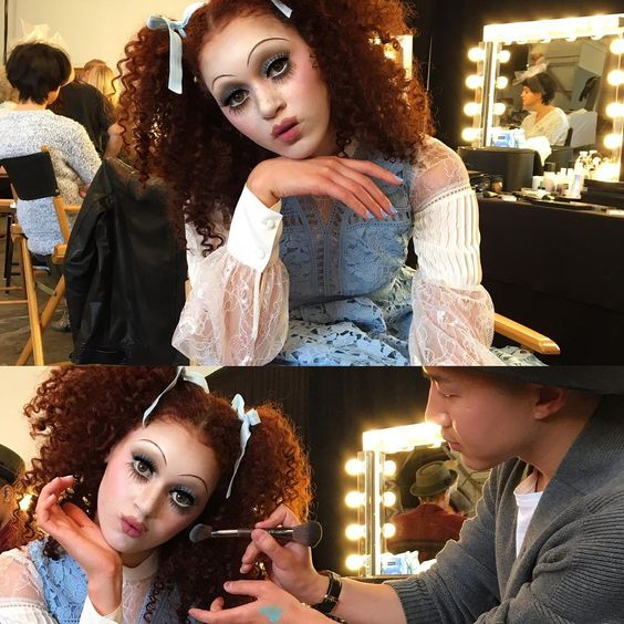 """""""Behind the scenes peek transforming the gorgeous Luana into a living doll using my trusty @makeupforeverus brush for the final touches. Hair:…"""""""