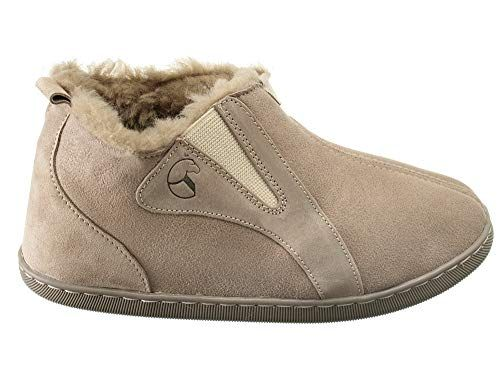 DAMEN LEDER WINTER HausSchuhe Pantoffeln mit Schafwolle