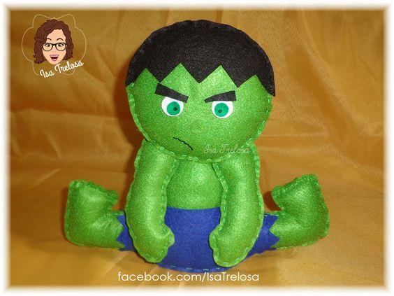 Centros de mesa ou peso de porta Avengers - Vingadores - feltro - felt - Hulk