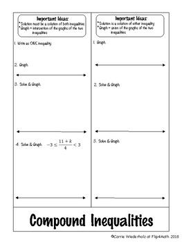 Included In This File Are Two Foldables To Organize The Steps Of Solving Multi Step Inequalities Compound Inequalities Compound Inequalities Foldable Foldables