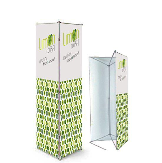 Pendón triple gráfica en papel sintético, 90x200cm cada cara. Incluye Bolso.