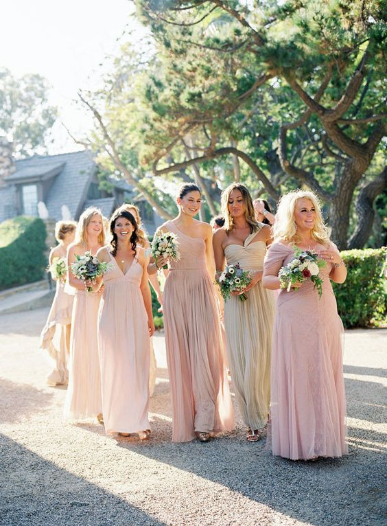 different neutral shades for bridesmaids? leaning more towards gold/champagne tones